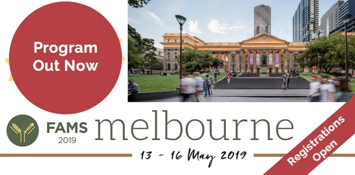 FAMS2019, 13th-16th May 2019, Melbourne. View the Program, Register Now!